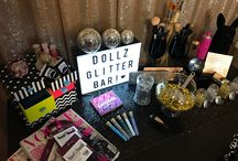 Dollz Glitter Bar / Dollz Glitter Bar is the must have pop-up stall.  The Dollz Glitter Bar is available to hire for any event. 2 Dollz professional makeup and hair team members for you and your party.  Customised set ups. Selfie stations. Balloons and props. All available for your perfect party package!