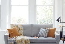 Wohnzimmer grau senf