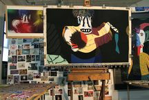"""boygirlMagazine"" visits Visual Artist Barbara Rachko's NYC Studio! / Inspired by Mexican and Guatemalan cultural objects — masks, carved wooden animals, papier mâché figures, and toys, Barbara Rachko creates large scale pastel paintings on high quality sand paper.   Currently working on her The Black Paintings series, where background details are replaced by intense dark black pastel, Barbara gives a new life to these found surrogate human figures...  more @ http://barbararachko.com"