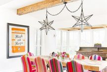 colorful dining spaces / colorful dining room, dining room inspiration, dining room decor, colorful dining room decor, colorful dining room ideas, colorful dining room chairs, colorful dining room wood trim, colorful dining room table, colorful dining room walls, colorful dining room paint, colorful dining room furniture, colorful dining room paint