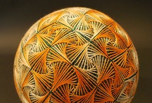 Geometrically Threaded / Another form of art/craft that I love! Never knew about it until Pinterest; it's amazing! Japanese string art. Temari is a Japanese symbol of perfection. Wouldn't a bowl of these be awesome? / by Georgia Badertscher