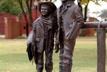 Abernathy Boys Statue and Exhibit / A life-size Statue of Bud and Temple Abernathy on the Tillman County Courthouse Square honors two Frederick boys who, in 1910, became national celebrities at age 6 and 10 when they rode alone by horseback from Frederick to Washington, D.C. to visit President Taft, and on to New York City where they greeted former President (and family friend) Theodore Roosevelt on his return from an African safari.
