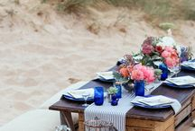 Beach Picnic & Outdoor dining / Wine, cheese plate, grape, sea, beach, sunset... Everything you need to organize good Beach Picnic.