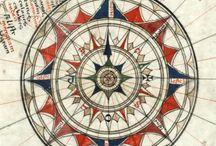 cercles, rose des vents geométrique