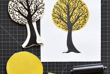 Linocut and stamps / linocut, stamping and related