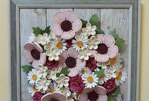 tablou cu flori aplicate