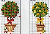 Cross stitch patterns - trees and topiary