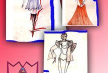 Mes croquis et dessins dans les années 90 / quelques dessins et croquis de stylisme fait dans les années 90, pendant mes études.