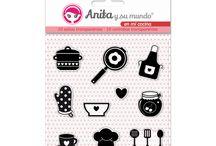 """Colección en mi cocina / Colección de papeles y básicos de scrapbooking de Anita y su mundo de su colección """"en mi cocina"""". Inpiración, tutoriales, e ideas."""