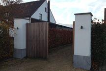 Kwalitatieve Hardhouten poorten LoG / alle poorten in hardhout - op kader - in kader - met motief , raster -... Schuif en draaipoorten ....