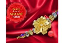 Exotic Gold Leaf Rakhi(24 Crt.) / Pujashoppe brings to you a 24 Crt.  Exotic Gold Leaf Rakhi to gift your brother with.  What better than being able to buy a bit of  happiness at the most nominal price range?  The gold plated leaves on the Rakhi add to  the eccentric look of the product as a whole.