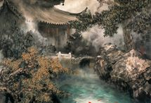 ZHAO FU / Chinese artist - he is adept in landscape and flower-and-bird genres, approaching them in a realistic and romanticist way.Through years of practice and research in the CHINESE art, he has synthesized the strengths of Lingnan school, which is accurate in portrayal use of brilliant colors and vigorous strokes, and the subtly ascetic Shanghai school. Furthermore, he does not flinch from adopting the Western technique in coloring and contrast