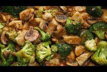 poulet asiatique au brocolis et champignons