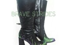 Defy Gravity / This fun line of hand painted shoes and boots gives the effect of paint dripping upwards.