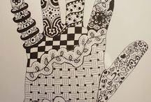 Y10 Fusion - Hand and Patterns / Y10 GCSE Fusion Project - Homework 4 Fuse patterns with hand outlines Draw around your hand - fill it with a pattern