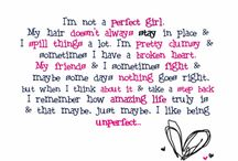 Girl / Be ur self u dont have to be perfect being u is perfect enough (quote)