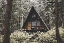 Cabin in the Woods / Into the woods we go! We dream of A-frame cabins. Let us be there already!