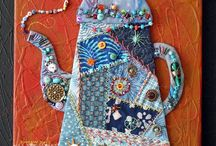Crazy quilt teapot painted background canvas