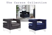 The Carson Accent Chairs / Meridian Furniture- Carson Accent Chair  Elegant and eye-catching, the stunning Carson Chair from Meridian Furniture is the perfect addition to any space. Rich velvet covers the plush, comfortable seat, padded with high density foam. Strength is offered by the stunning acrylic legs and hand-crafted solid wood frame.  Velvet Acrylic Legs Attach Legs Only