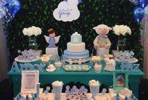 Festa de Batizado / Lindas inspirações para festa de batizado. Bolo, docinhos, decoração e lembrancinhas...