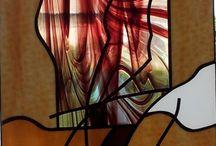 modern ólomüveg ablak betét