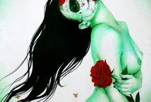Sylvia Ji Photoshot / Paintings, refrence material, and props for a lovely Dia de los Muertos shoot! / by Desi Delaluna