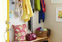 Mud room / Organize the entry way.  Bench, hooks, baskets, shoes.