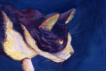 Art of Felines: Paintings, Drawings, Sculptures of Cats & Kittens / Here feline art images of cute cats and kittens that we have found and want to share with cat lovers so they too can appreciate the artistic renderings furry kitties too!  Art ranges from mixed media, paintings, drawings, figurines, and sculptures.