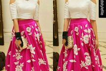 Traditional crop top and skirt