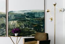 Large abstracts in living spaces