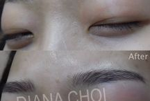 Semi permanent hair stroke tattoo (eyebrows/hair line/ eyeliner) /  3D permanent makeup before and after  New hair stroke style eyebrows tattoo