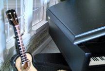 Miniature Dollhouse Music Instruments