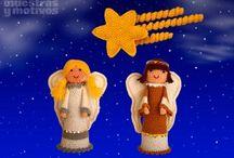 AMIGURUMIS DE NAVIDAD / CROCHET / Original Portal de Belén realizado con figuritas de #amigurumi tejidas a crochet. / by Muestras y Motivos