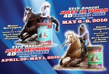 Josey Reunion and Jr. World 4D Barrel Races / The Josey Reunion 4D Barrel Race is held yearly, and is open to anyone who has taken a Josey Clinic.    The Josey Jr. World Barrel Race is open to any barrel racer age 20 and under.