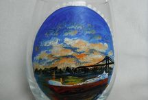 Nautical and River Hand Painted Glass