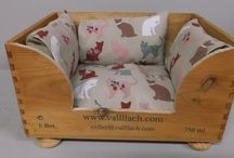 """Dog  & Cat Beds / A perfect country style hand made in Dorset dogs bed 60cm x 40cm x 28cm with the """"London Look"""" bedding fully washable  Smaller dogs bed and with """" Shabby Style"""" Bedding and sophisticated  style cats bed."""