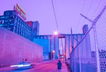 vaporwave colours// / vaporwave// pixel art. neon. statues. glitch.