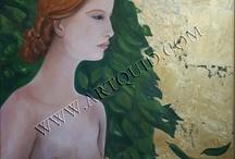 Art / huile sur toile et feuille d'or