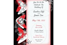 """Rockabilly Wedding Invitations / Our Fabulous Fifties wedding invitation suite comes in 6 colors but we think the red and black rocks! Great for a 1950's Rock and Roll, Rockabilly, Sock Hop, """"Grease"""", or """"American Graffiti"""" theme wedding, or for any couple that loves mid-century modern design, atomic age, """"Mad Men"""" and that wonderful 1950s style.  Have a memorable 1950s style wedding with a swing dance reception! Everyone will be wanting an invite to this shindig!"""