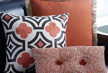 living room orange accents