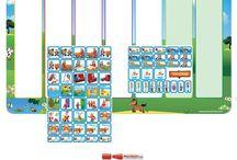 Planpakketten voor kinderen / Volledig samengestelde planpakketten, speciaal voor kinderen. Planborden plus pictogrammen.