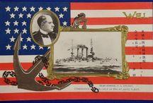 US Navy Great White Fleet / Vintage memorial postcards for the visit of US Navy Great White Fleet