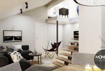 Stylowe mieszkanie z antresolą / Dziś prezentujemy stylowe mieszkanie na poddaszu z antresolą. Podkreślone w ciekawy sposób ściany, biała cegła w salonie, fototapeta w kuchni i mieszkanie nabiera stylu.  Po więcej inspiracji zapraszamy na Naszą stronę:http://monostudio.pl/portfolio_item/stylowe-mieszkanie-antresola/ oraz na Facebooka
