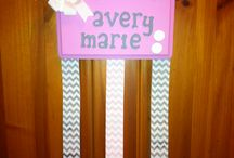 Hand made bow holders / wooden bow holders personalized with your little girls name!  Match colors of your bedroom / bathroom so that this is the perfect addition for your princess! Follow us on facebook https://www.facebook.com/dazzlingdivabows / by Amanda Corbin