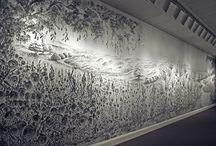 Mural pintado con los dedos