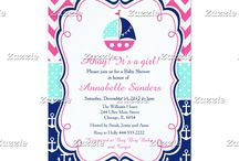 Pink and Navy Nautical Sailboat Baby Shower / This collection features a cute nautical sailboat with bunting. Perfect for a Nautical Baby Shower or Birthday. The background consists of hot pink chevrons, navy blue anchors and a white polka dot ribbon on green.