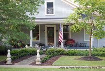 Country Farmhouse Porches / There's just something about a farmhouse with a large country porch, isn't there? Here's where you can dream and find lots of examples to inspire you!  #countryfarmhouse #countryporch #frontporchideas