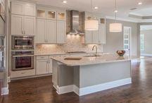 Grey & White Transitional Kitchen & Bath