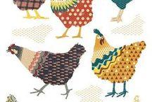 gallinas con.varias telas