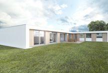 Studie jednopodlažního RD / Návrh rodinného domu v půdorysu do L, výběr materiálů proběhl tak, aby RD splňoval nízkoenergetický standard.